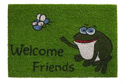 Dørmåtte i kokos welcome friends frog i 40 x 60 cm