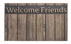 Dørmåtte i flot design Wood welcome friends