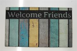Dørmåtte i flot design Eco master Scrapwood welcome friends 024