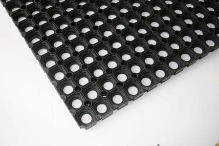 Oprindeligt Gummi måtte i sort med huller 40 x 60 cm 100 stk. - 79665544266 QT48