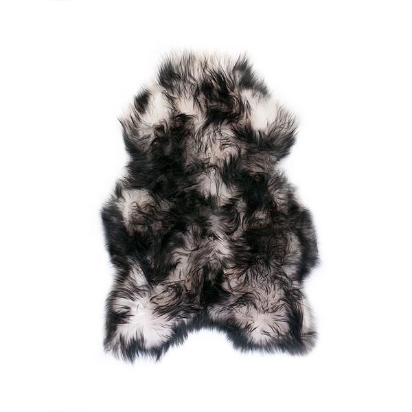 Islandske lammeskind hvid med sort langhåret - 1501169 - Din tæppekæde.dk